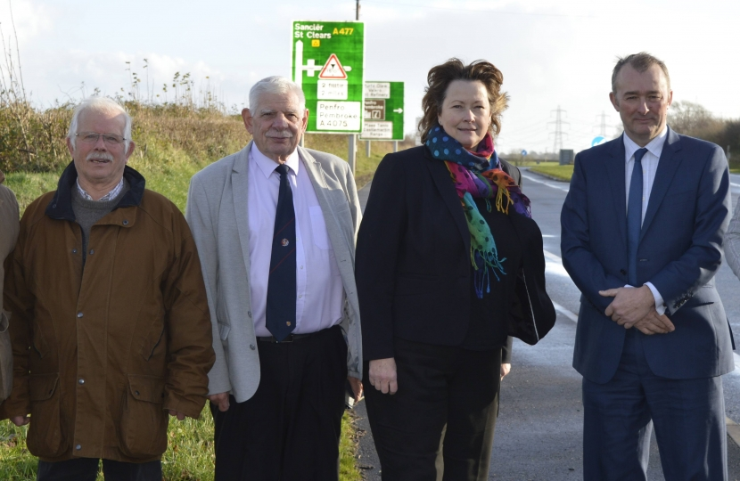 POLITICIANS UNITE: Cosheston Community Councillors Nick and Basil James are pictured (l to r) with Pembroke Town Councillor Dennis Evans, Angela Burns AM, Simon Hart MP and Lamphey County Councillor Tessa Hodgson at the Nash Fingerpost junction near Cosheston.