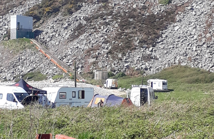 Illegal camping at Morfa Bychan over Easter