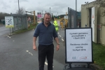 PIC CAP: Simon Hart MP pictured at Whitland Recycling Centre which has introduced strict residency checks.